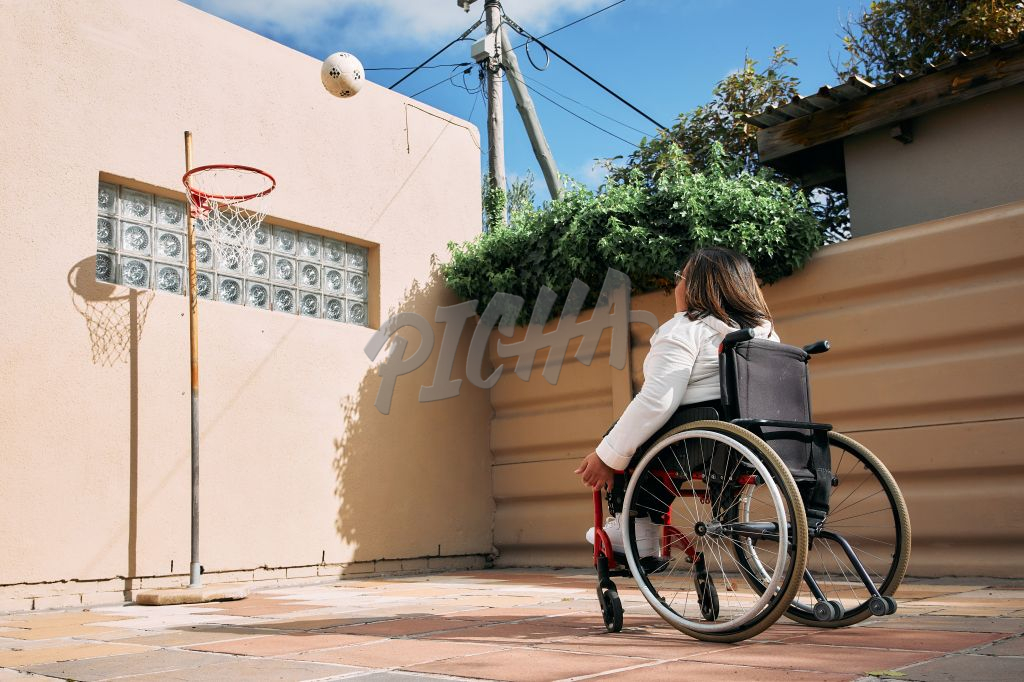 Young Woman with a disability playing