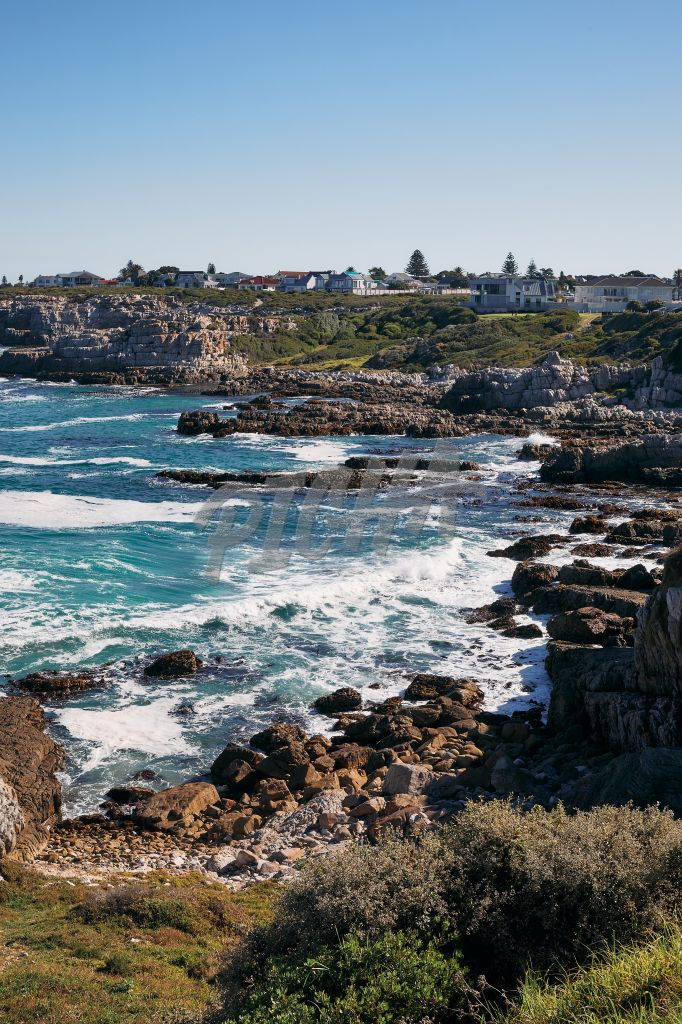 Landscape of the houses by the cliffs in Hermanus