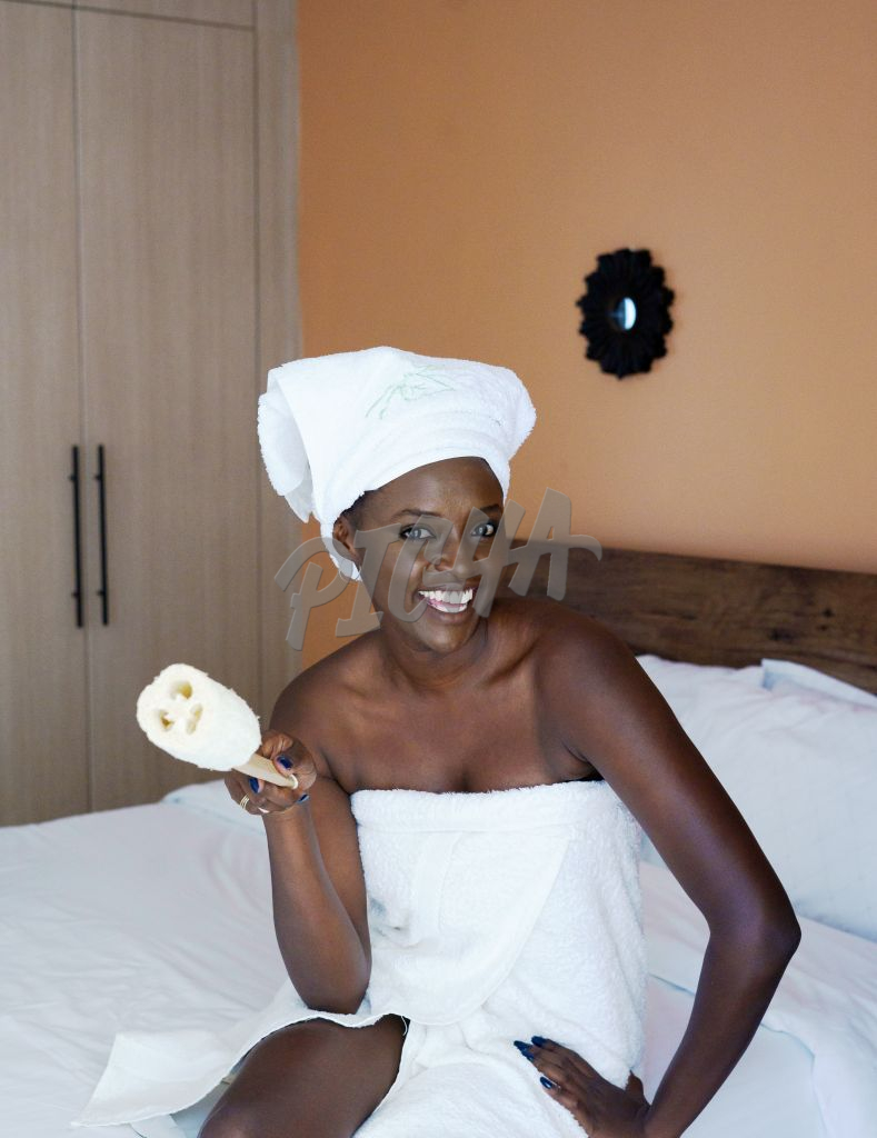 woman taking care of her skin at home