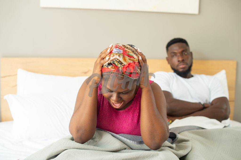 Couple experience tension in the bedroom