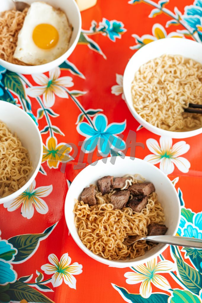 Selection of instant noodles in bowls