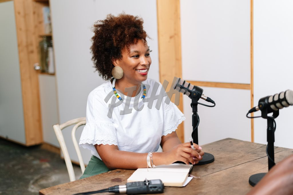 Woman conducting an interview