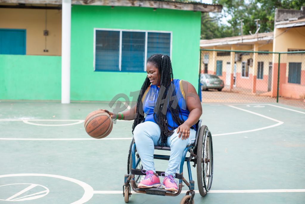 Woman With Disability playing basketball